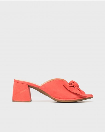 Wonders-Heels-Leather mule with bow