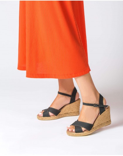 Wonders-Wedges-Espadrille with crossover straps