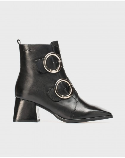 Wonders-Ankle Boots-Double buckle leather ankle boot