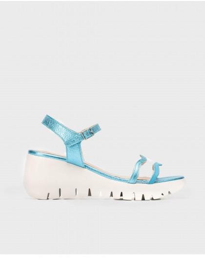 Wonders-Wedges-Metallic sandal with vinyl