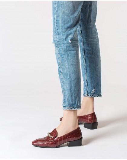 Wonders-Flat Shoes-Crocodile and chain moccasin