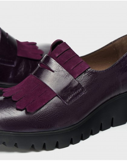 Wonders-Wedges-Leather moccasin with fringe