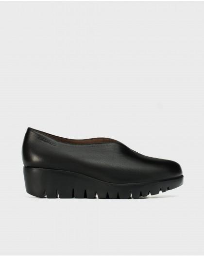 Wonders-Wedges-Black leather shoe