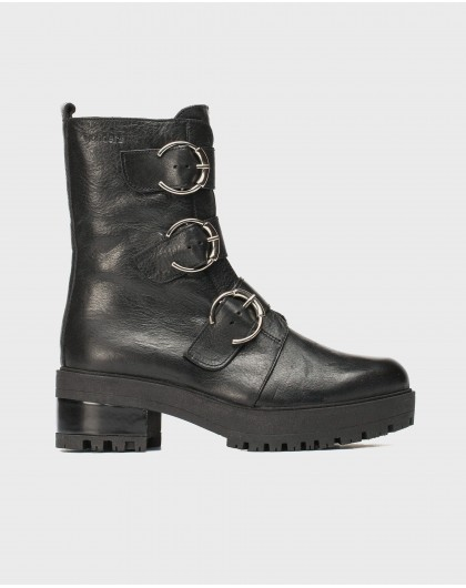 Wonders-Ankle Boots-Biker ankle boot with buckles