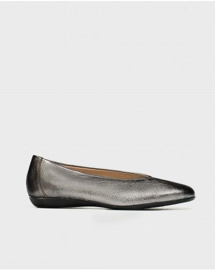 Wonders-Flat Shoes-High cut metallic ballet pump