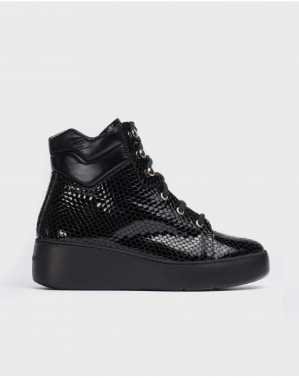 Wonders-Ankle Boots-Flat ankle boot with etched scales
