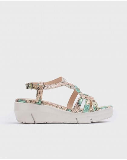 Wonders-Wedges-Snake print leather sandal