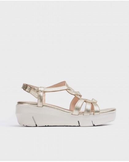 Wonders-Wedges-Plaited leather sandal
