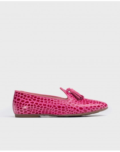 Wonders-Flat Shoes-Embossed leather slipper