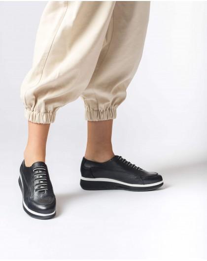 Wonders-Flat Shoes-Black Boom Sneaker