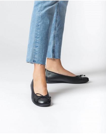 Wonders-Flat Shoes-Black Bo Ballet pump