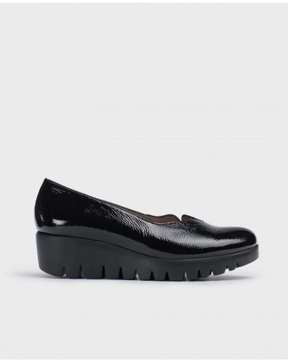 Wonders-Wedges-Black Fly Shoe