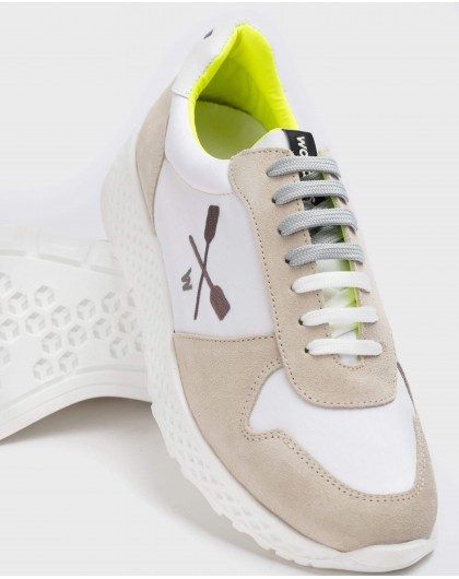 Suede leather sneakers with shoelace closure