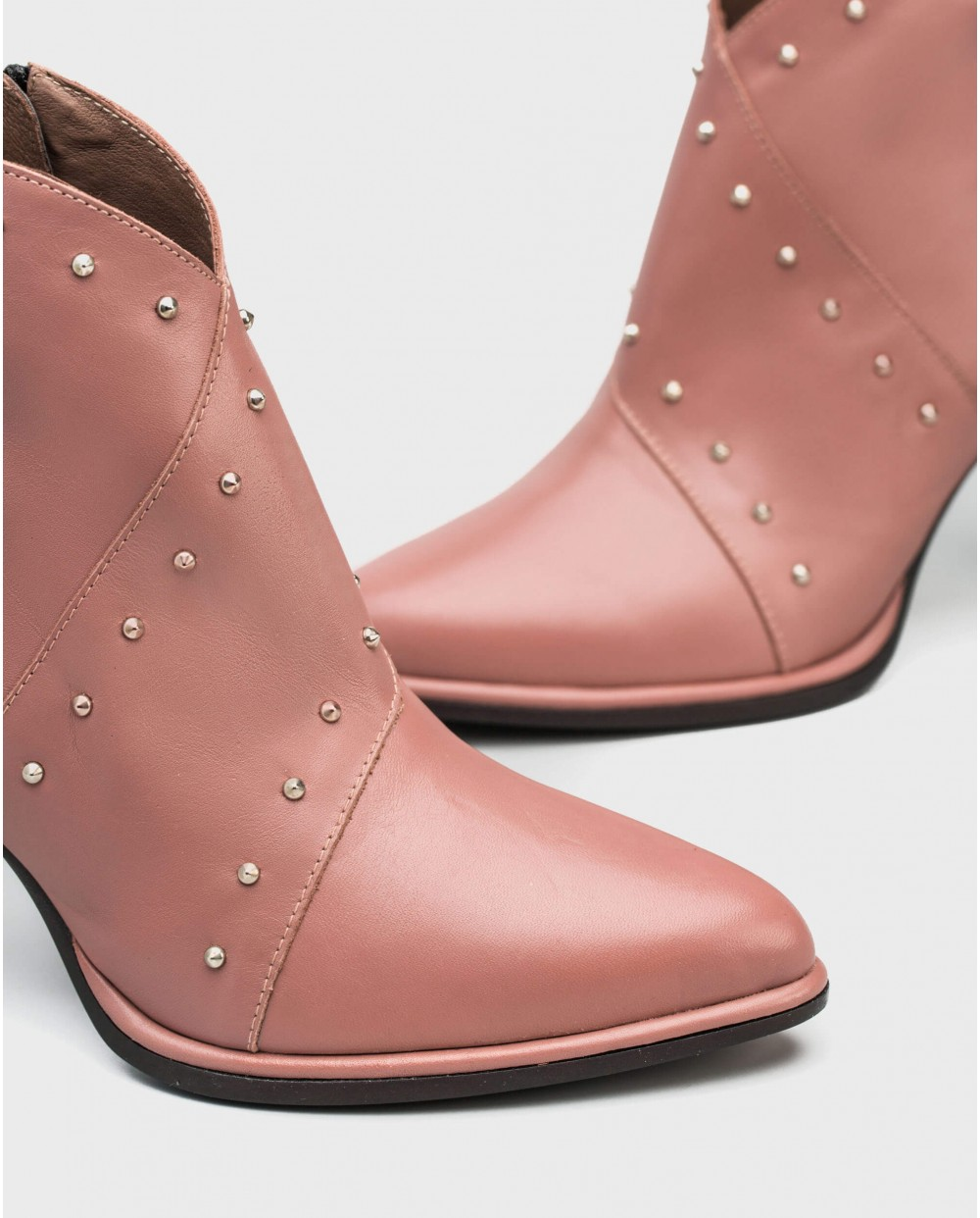 Wonders-Ankle Boots-Leather ankle boot withdouble rhinestone strap