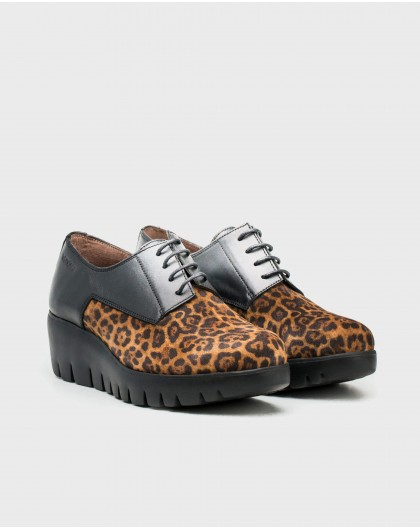 Wonders-Flat Shoes-Leather animal print sneakers