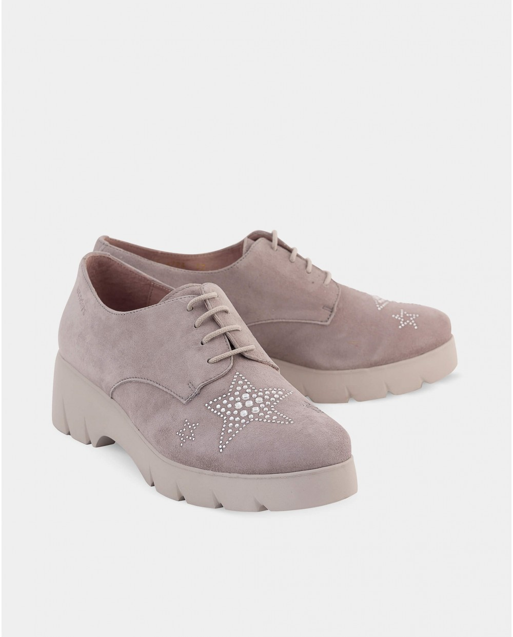 Wonders-Outlet-Suede leather Blucher with rhinestone star detail