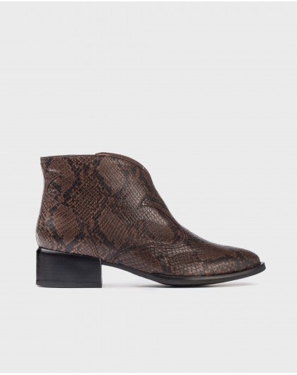 Wonders-Ankle Boots-Leather snake print ankle boot