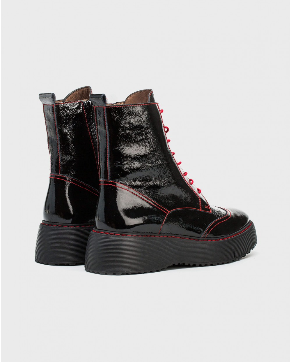 Wonders-Ankle Boots-Patent leather biker ankle boot