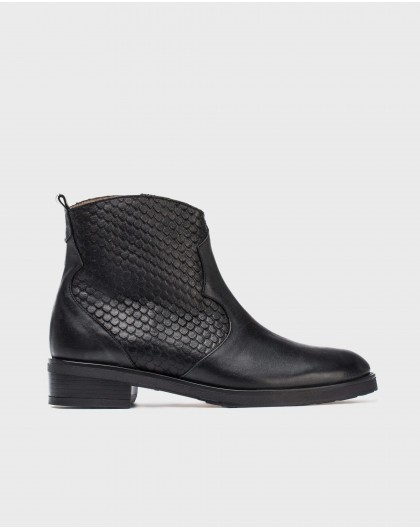 Wonders-Outlet-Leather cobra print ankle boot