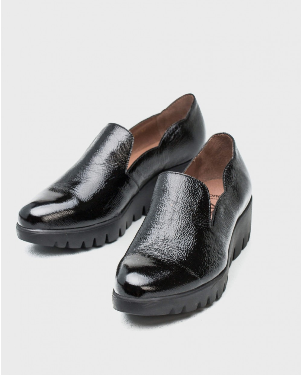 Wonders-Wedges-leather moccasins with wave detail