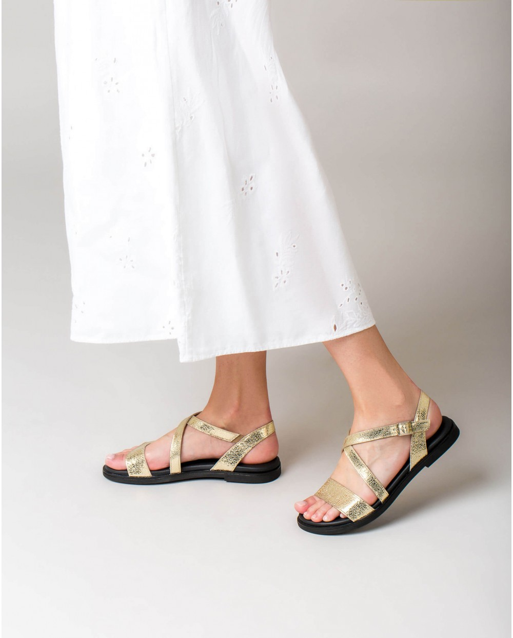 Wonders-Outlet Women-Metallic leather sandal with lstrap