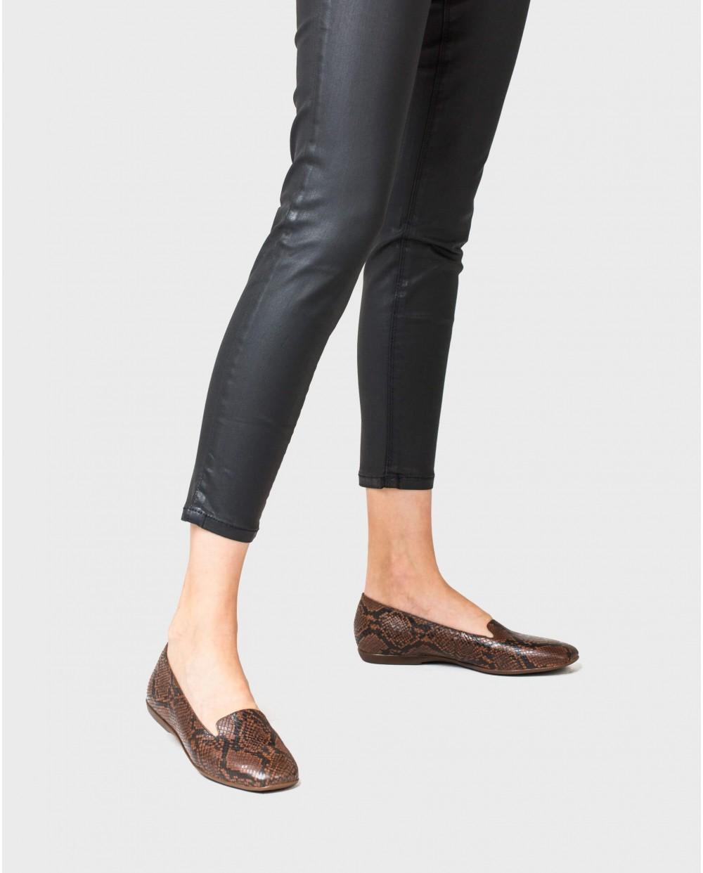Wonders-Flat Shoes-leather snake print ballet pump