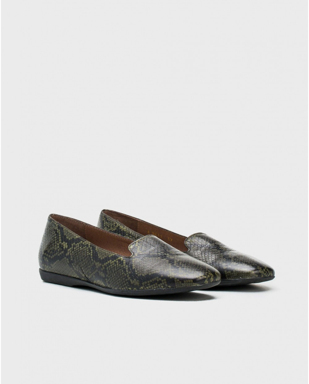 Wonders-Flat Shoes-leather snake print ballet pump