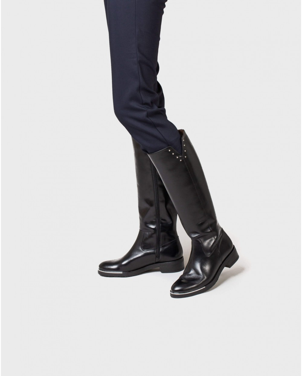 Wonders-Outlet Women-Leather boot with metallic detail