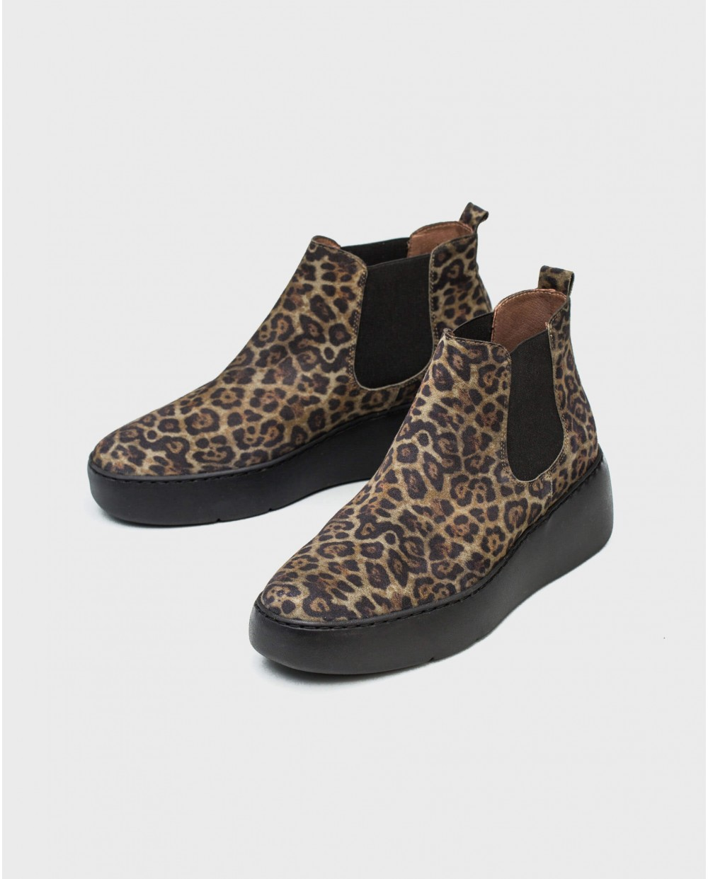 Wonders-Ankle Boots-Animal print suede leather ankle boot