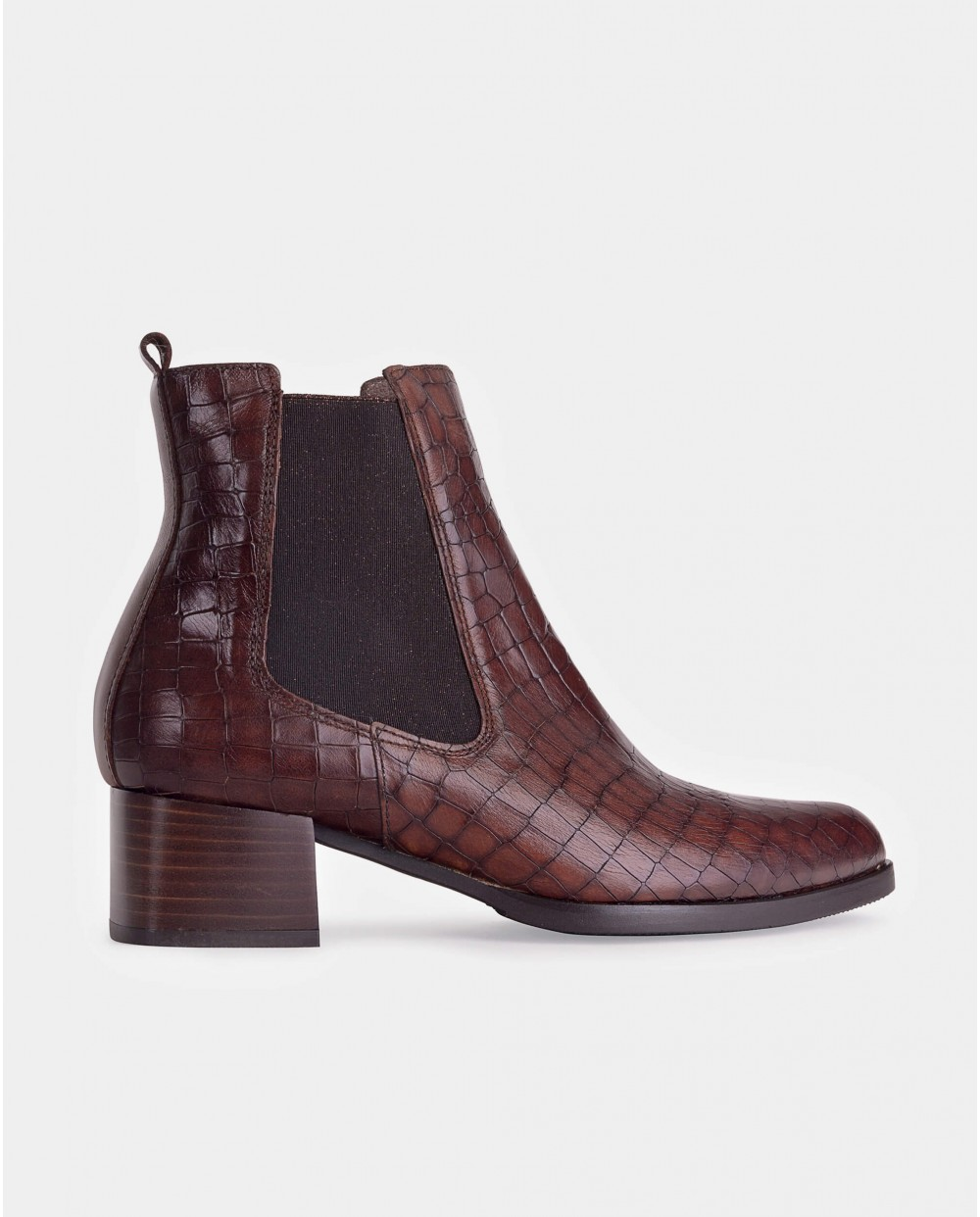 mock/croc leather ankle boot