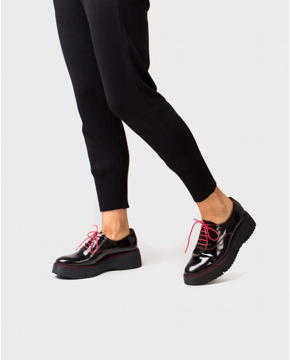 Wonders-Flat Shoes-Tartan print sneaker with wedge