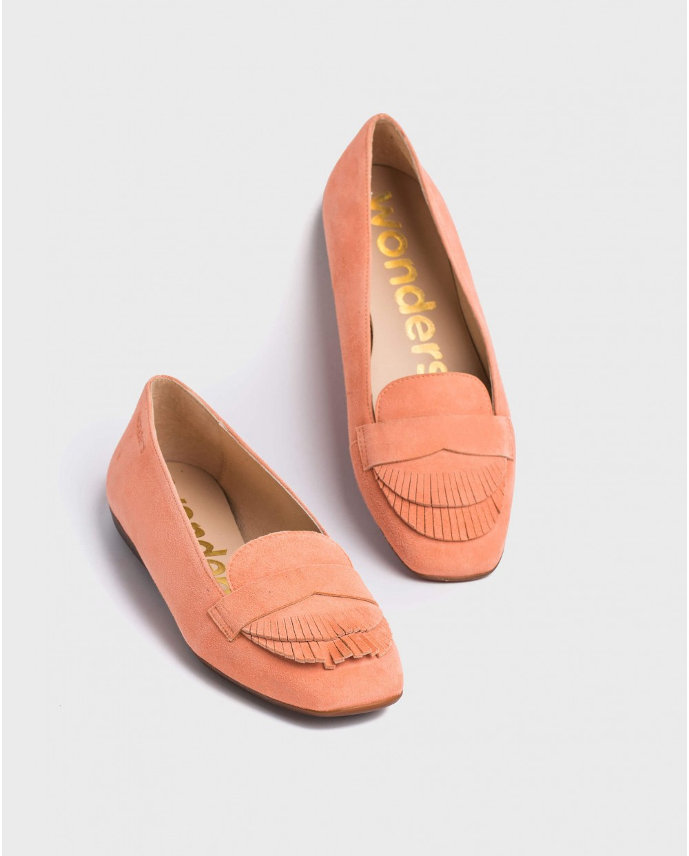Wonders-Flat Shoes-Leather ballet pump with double fringe