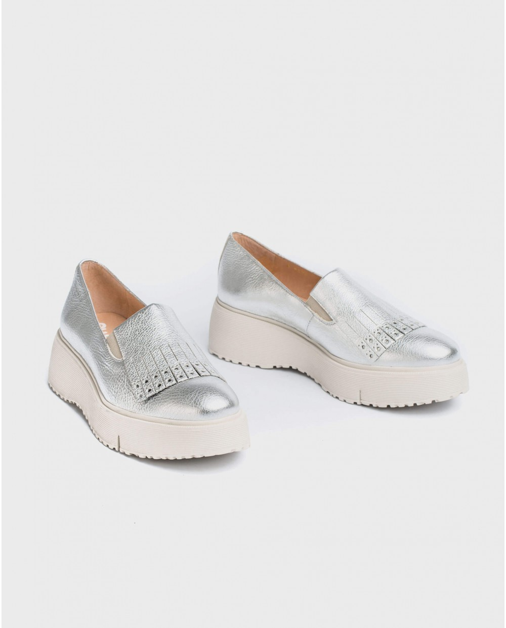 Wonders-Wedges-Metallic leather moccasin with fringe