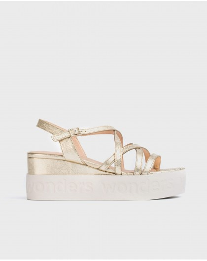 Wonders-Sandals-Leather sandal with metallic straps