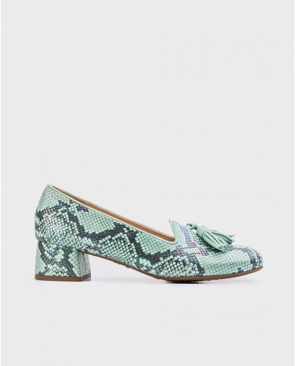 Wonders-Flat Shoes-High heeled ballet pump with tassels