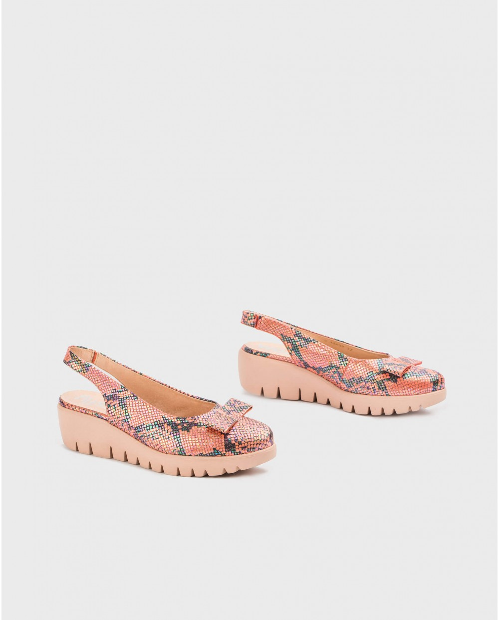 Wonders-Wedges-Backless moccasin with bow