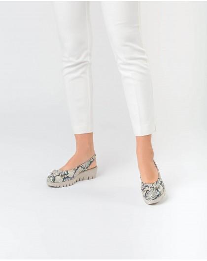 Wonders-Zapatos planos-Mocasin destalonado con lazo