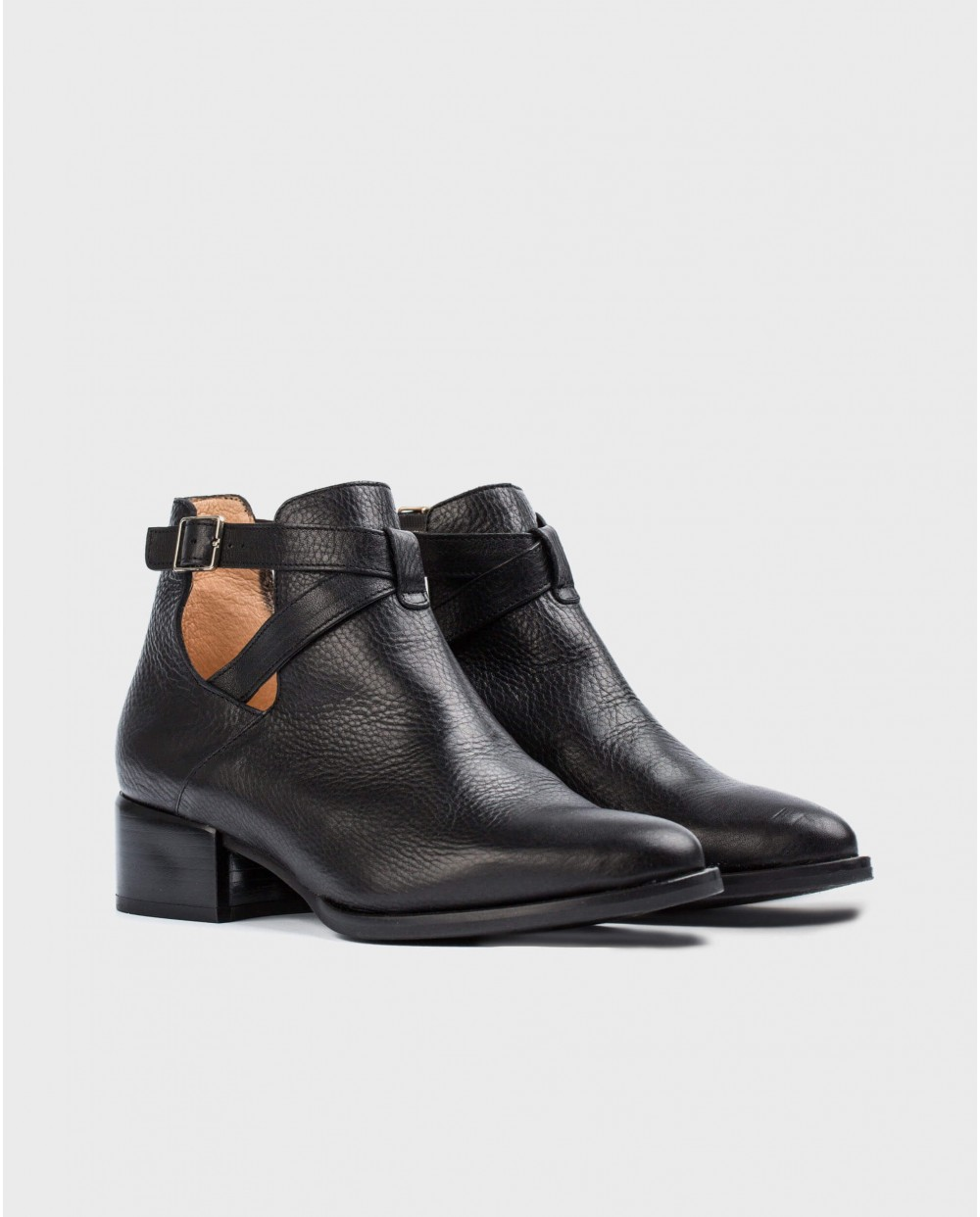 Wonders-Women-Leather ankle boot with criss-cross straps