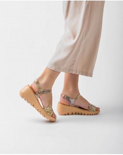 Wonders-Women-Scale effect leather wedge sandal