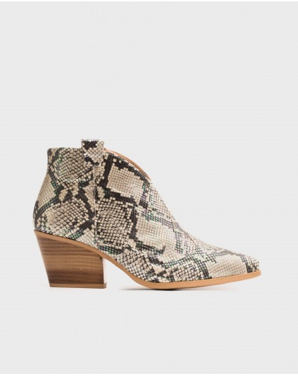 Wonders-Ankle Boots-Snake print leather cowboy style ankle boot
