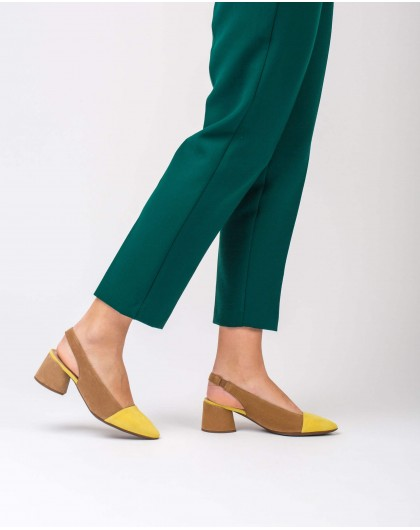 Wonders-Heels-Leather two-tone suede shoes