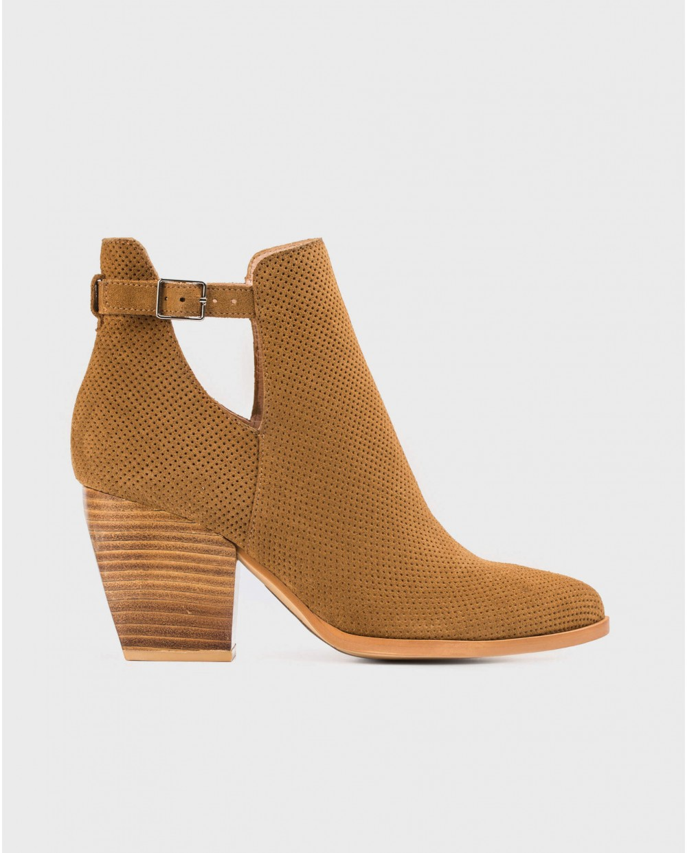 Wonders-Women-Suede leather ankle boot with brogue detail
