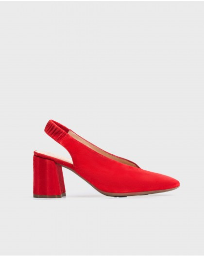 Wonders-Heels-V cut leather court shoe
