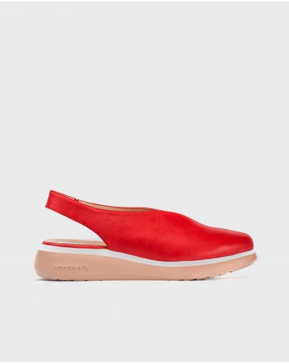 Wonders-Wedges-Leather V cut shoe