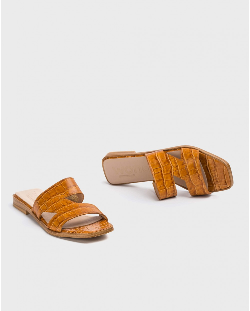 Wonders-Sandals-Leather flat sandal with side cutouts