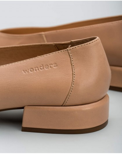 Wonders-Outlet-Bailarina piel punta cuadrada