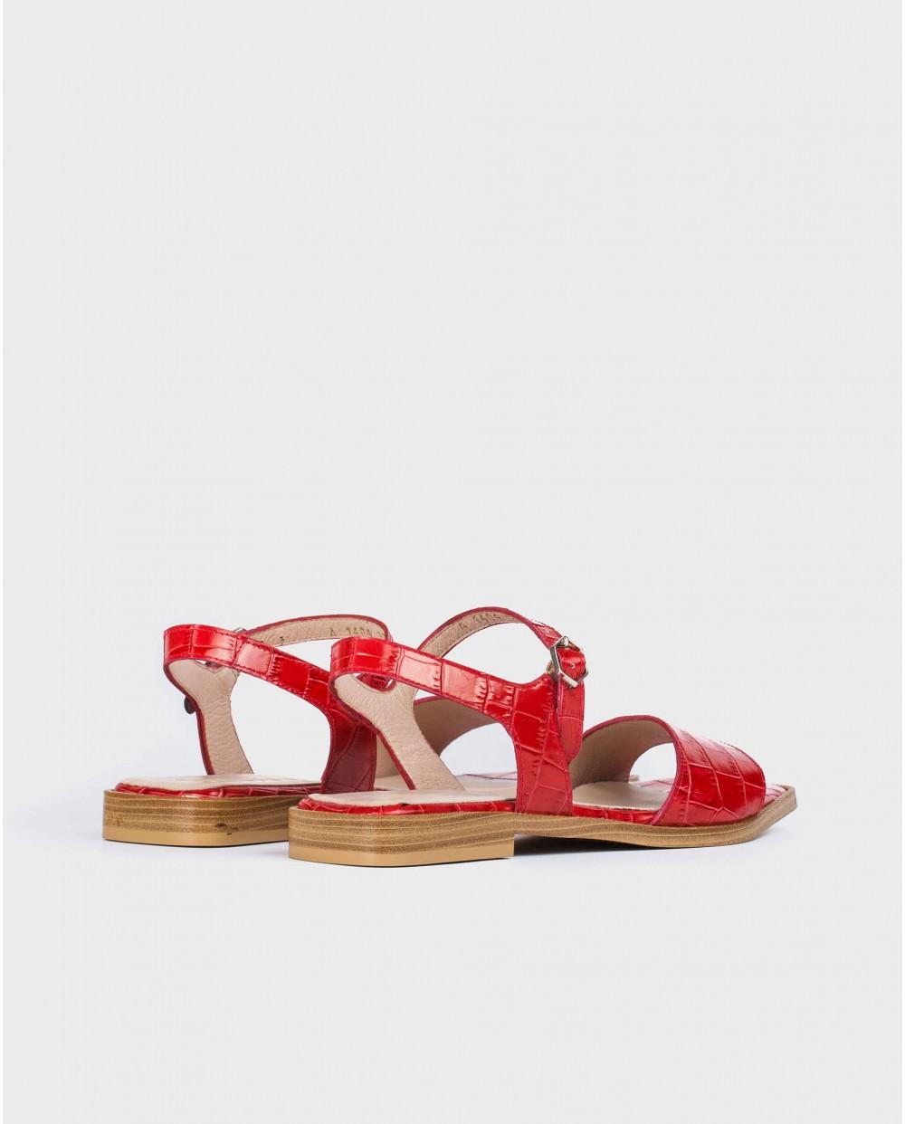 Wonders-Sandals-mock croc flat sandal