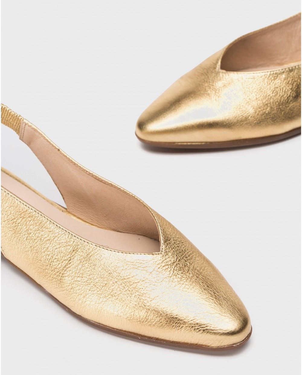 Wonders-Flat Shoes-Metallic leather slingback sandal