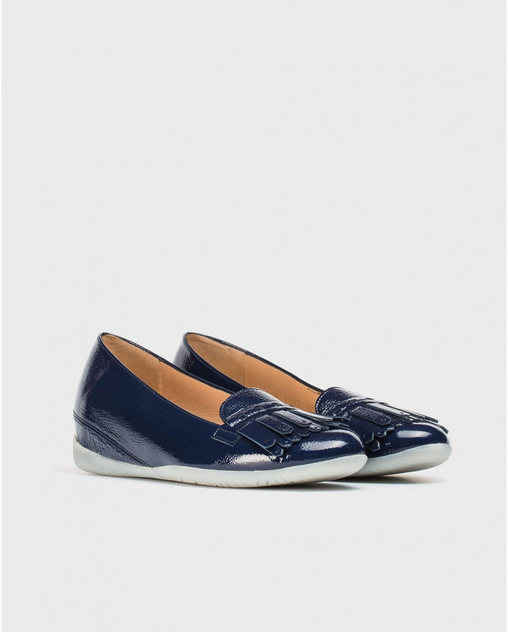 Wonders-Flat Shoes-Leather ballet pump with fringe detail