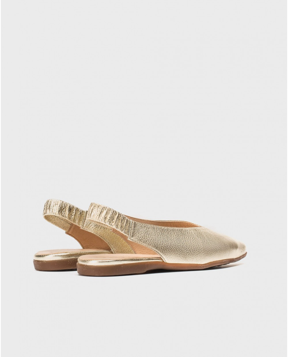 Wonders-Flat Shoes-Metallic leather slingback sandal
